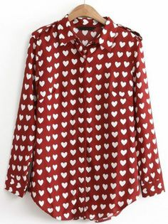 Wine Red Lapel Long Sleeve Hearts Print Blouse pictures