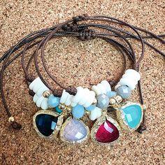 bracelets by vila veloni adjustable leather with beautiful stones