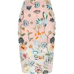 River Island Petite pink floral embroidered midi skirt ($90) ❤ liked on Polyvore featuring skirts, midi skirts, pink, women, knee length pencil skirt, high waisted skirts, midi skirt, pink midi skirt and high-waisted skirts