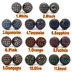 New 10mm Gun Black Shamballa Metal Beads,Micro Pave Zircon Round  Bead Fit Bracelet Necklace Jewelry Making Accessories