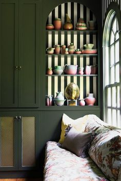 bold stripes in the living room built-ins