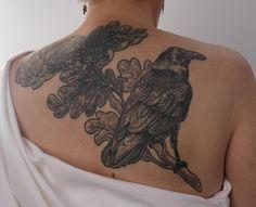 Raven tattoo Kathryn Moore at Dogstar Tattoo http://dogstartattoo.com/