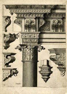 Plate 14: Top part of a Corinthian column; the shaft, capital and entablature decorated with leaves; six consoles at left and right; after a design by Hans Vredeman de Vries.  1565  Etching  Watermark: a hand holding a clover or trefoil