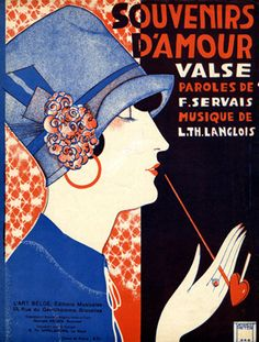 """Illustrated Sheet Music by Peter De Greef, 1927, """"Souvenirs d'Amour""""."""