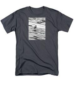A Sandpiper Runs Along The Heavily Textured Beach After A Heave Rain Men's T-Shirt (Regular Fit) featuring the digital art Sandpiper by Expressionistartstudio Priscilla-Batzell