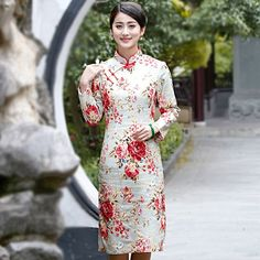 Fabric: Signature Cotton Length: Knee-Length Silhouette: A-line Pattern: Floral Collar: Mandarin Collar Sleeve: Long Sleeve Button: Strap Button Cheongsam, Style Chinois, Line Patterns, Chinese Style, Dame, High Neck Dress, Dresses For Work, Style Inspiration, Long Sleeve