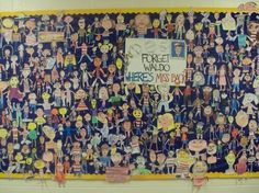 """Where's the Teacher? Love this! Create a grade-wide board. Have students and teachers create their own paper people and post a new """"Where's ____?"""" each week!"""