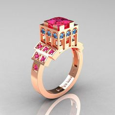 Modern Industrial 14K Rose Gold 1.23 CT Princess Pink Sapphire Blue Topaz Bridal Ring R316-14KRGBTPS