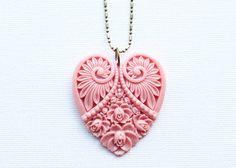 Pink Heart Necklace  Big Pendant  Old Pink by vintagebyrachel,