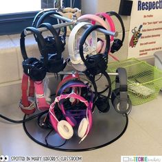 Check this out! Last year one of graders, Johnny, welded a headphone rack for his classroom to solve their headphone storage dilemma. Classroom Setting, Classroom Setup, Classroom Design, Classroom Organisation, Classroom Management, Organization Ideas, Storage Ideas, Teacher Hacks, Teacher Stuff