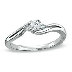 Cherished Promise Collection™ 1/5 CT. T.W. Diamond Three Stone Promise Ring in 10K White Gold - Zales perfect size