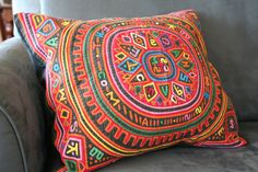 Panamanian Mola quilted pillow a beautiful example of work from Etsy