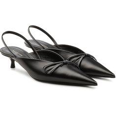 Balenciaga Knife Leather Slingback Kitten Heel Pumps (2,830 SAR) ❤ liked on Polyvore featuring shoes, pumps, black, black slingback pumps, slingback pumps, black leather shoes, black slingbacks and low black pumps