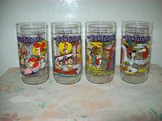 Vintage Hardee's Hannah Barbera Flintstone Drinking Glasses Set of 4