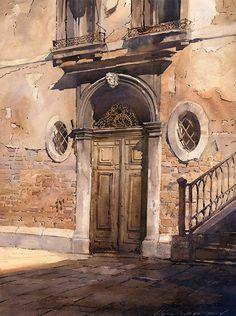Classically trained watercolor artist Vladislav Yeliseyev is Russian-born American artist presents urbanscapes, seascapes, landscapes and more. Art Watercolor, Watercolor Landscape, Landscape Paintings, Watercolor Architecture, Architecture Art, Urban Sketching, Oeuvre D'art, Painting Techniques, Painting Inspiration