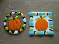 Glass Fusion Pumpkins on a 4 inch tile. Fused Glass Inspiration.