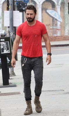 Camisa roja con gris