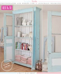 pretty-blue-kitchen-cabinet via Bright Bazaar com paletes? Furniture Decor, Painted Furniture, Repurposed Furniture, Blue Kitchen Cabinets, Cupboards, Log Home Kitchens, Vintage Interiors, Shabby Chic Kitchen, Home Decor Inspiration