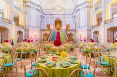 BBJ Linen, Nationwide- www.bbjlinen.com. As the nations largest linen rental company, BBJ delivers stunning table design at any budget, through an easy and hassle free ordering process!  Pictured: Pistachio Mandalay Linen, Daffodil Shantung Napkins, Turquoise Luxe Chargers
