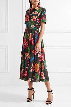 Valentino - Printed Silk Crepe De Chine Shirt Dress - Black - IT36