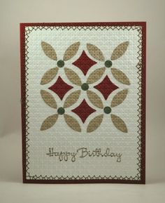 Quilt card by Gail Park.... used the 'innie' leftover pieces from the lattice die to do this embedded embossing pattern.... love it!