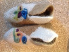 Norwegian knit  house slippers - then felted and needle felted - gifted 2015