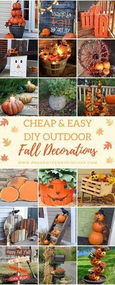 20 DIY Outdoor Fall Decorations That'll Beautify Your Lawn And DIY Outdoor Fall Decorations That'll Beautify Your Lawn And Garden - Easy diy projects! via Cheap and Easy DIY Outdoor Fall DecorationsGet your Autumn Crafts, Holiday Crafts, Fall Or Autumn, Holiday Ideas, Thanksgiving Ideas, Diy Décoration, Easy Diy, Fall Projects, Diy Projects