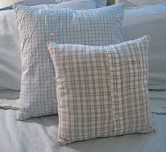 Pillow cases made from old shirts.