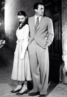 Audrey Hepburn and Gregory Peck in Roman Holiday. Via @bentleyron. #GregoryPeck #AudreyHepburn