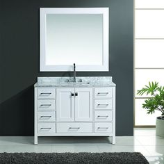 Buy the Design Element White Direct. Shop for the Design Element White London Free Standing Vanity Set with Marble Top and Undermount Sink and save. 48 Vanity, Vanity Set With Mirror, Single Sink Bathroom Vanity, White Vanity, Double Vanity, Bathroom Vanities, Bathroom Ideas, Bathrooms, White Bathroom