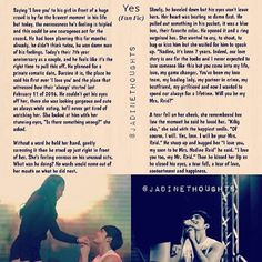 """""""Yes"""" (Fan Fic)  Saying 'I love you' to his girl in front of a huge crowd is by far the bravest moment in his life but today, the nervousness he's feeling is tripled and this could be one courageous act for the record. He had been planning this for months already, he didn't think twice, he was damn sure of his feelings. Today's their 7th year anniversary as a couple, and he feels like it's the right time to pull this off. He planned for a private romantic date, Barcino it is, the place he…"""