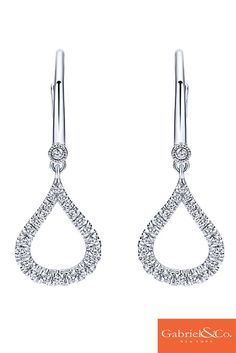 These beautiful 14k White Gold Diamond Drop Earrings by Gabriel & Co. are the perfect pair for this winter! We love the designs, details, and diamonds in these stunning pair of drop diamond earrings. These drop dead gorgeous earrings are a must have! Find them at your local Gabriel retailer!