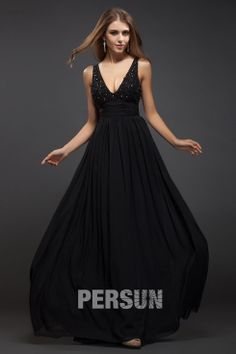 Sleek Beading Low V-neck Chiffon Black A-line Evening Dress Sale Online - DRESSESMALL