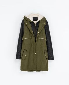 PARKA WITH FAUX LEATHER SLEEVES from Zara