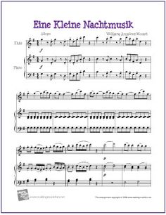 Eine Kleine Nachtmusik   Free Sheet Music for Easy Flute