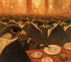 Shaun Tan (Chinese-Australian, b. 1974, Perth, Australia) - Never Eat The Last Olive At A Party from his 2013 book Rules of Summer, 2012  Paintings: Oil