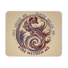 Sky Above Me, Earth Below Me, Fire Within Me - Red and Blue Dragon Yin Yang Swirl - Mouse Pad