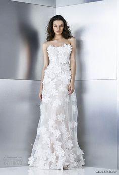 gemy maalouf 2017 bridal strapless semi sweetheart neckline full embellishment romantic modified a  line wedding dress sweep train (4792) mv