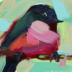 Pink Breasted Robin no. 5 Original Oil Painting by Angela Moulton Maple Plywood, Landscape Paintings, Oil Paintings, Pictures To Paint, Robin, Artsy, Birds, The Originals, Abstract
