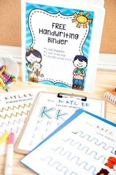 Free Handwriting Sheets That Will Improve Your Child S Handwriting This Is A Great Free Printable To Help Practice Handwriting This Handwriting Binder Will Give Your Students Lots Of Practice 48 Pages Total Preschool Binder, Free Preschool, Kindergarten Writing, Preschool Learning, Kindergarten Activities, Writing Activities, Preschool Letters, Teaching Resources, Literacy