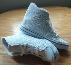 White lace hitop converse style wedding shoes by AlisonThyraShoes, £75.00