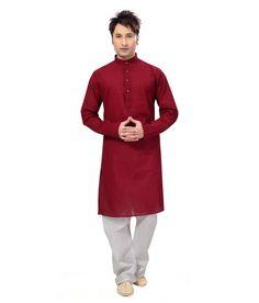 Ishin Prints Cotton maroon Kurta White Pajama - http://weddingcollections.co.in/product/ishin-prints-cotton-maroon-kurta-white-pajama/