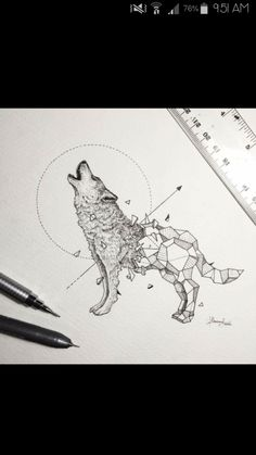 Wild Animals and Geometric Shapes Are Fused Together in Beautiful Drawings Geometric Tiger, Geometric Drawing, Geometric Shapes, Geometric Tattoos, Wolf Tattoos, Animal Tattoos, Wolf Illustration, Abstrakt Tattoo, Wolf Sketch