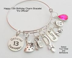 13th Birthday Gift 13th Birthday Charm Bracelet Gift for
