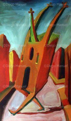 """"""" catedral estirando los brazos"""" , acrylic on canvas, 47 x 29 cm. 2000. By Diego Manuel"""