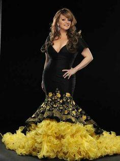 Jenni Rivera, yellow dress beautiful