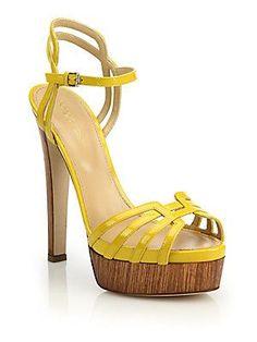 Sergio Rossi Paloma Patent Sandals - Yellow - Size 3