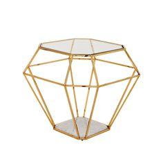 Geometric gold side table #sidetabledesign #furnitureworld #moderndesign living room, living room design, modern living room . Visit www.coffeeandsidetables.com