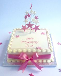 Birthday Star Topper | Karen's Cakes. Square cake available in 4 sizes with a choice of finishes for the top border . The cake is white iced and decorated with a hand crafted icing star topper available in a range of colours and finished with matching inscription and ribbon. For added effect we can glitter your star spray and add icing numbers.