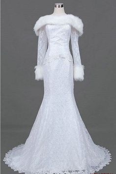 Trumpet / Mermaid Long Sleeve Court Train Satin Lace  Wedding Dresses With Fur collar and Beading via Etsy.